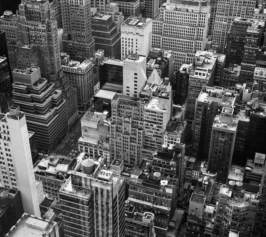 Helicopter view of buildings in Midtown, New York City.