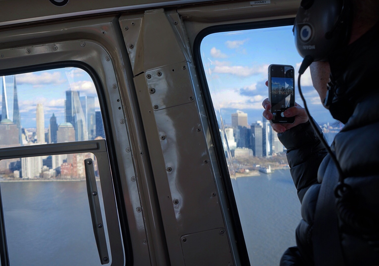 View from a helicopter on top of Manhattan in New York City.
